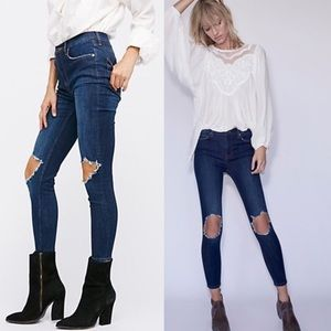 Free people high waist, busted knee denim jeans